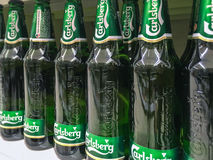 Carlsberg Beer on store shelves. Nowy Sacz, Poland - March 16, 2017: Carlsberg Beer on store shelves for sale in E.leclerc Supermarket. The Carlsberg Group is a Royalty Free Stock Images