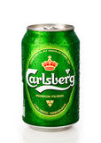 Carlsberg can. A cold carlsberg can with water drops on white background with reflection Stock Photography