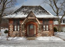 Carlson Cottage. This is a winter picture of the Carlson Cottage at the Lincoln Park Zoo in Chicago, Illinois.  The cottage was designed by Joseph Lyman Silsbee Stock Photo