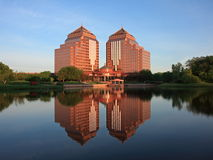 Carlson Towers. Reflction in the water, morning in Minnetonka city Royalty Free Stock Photos