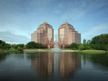 Carlson Towers with fountain Royalty Free Stock Photography