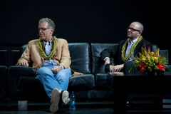 Carlton Cuse and Damon Lindelof. Creative masterminds of LOST,  on stage at the Royal Hawaiian Theater, Honolulu, Hawaii, after receiving the 2009 Hawaii Royalty Free Stock Images