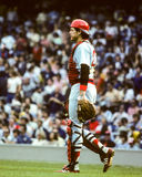 Carlton Fisk, Boston Red Sox. Former Boston Red Sox and Hall of Fame catcher Carlton Fisk.  (image taken from color slide Stock Photo