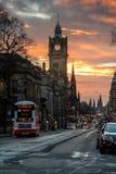 Carlton Hill in Edinburgh at sunset. The Balmoral in Princes Street at sunset in Edinburgh stock image
