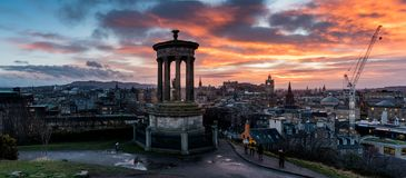 Carlton Hill in Edinburgh at sunset stock images