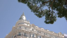 Carlton hotel building in Cannes. Quality service guaranteed stock video
