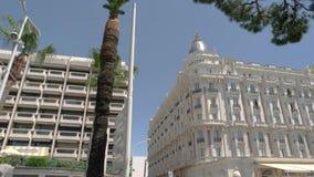 Carltonhotel in Cannes stock videobeelden