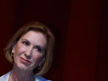 Carly Fiorina parle à l'université de l'Etat d'Iowa, Ames, Iowa, en août 27,2015 Photo stock