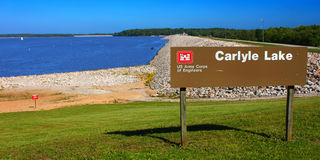 Carlyle Lake in Illinois. Carlyle, USA - May 18, 2014: Carlyle Lake is the largest body of water in Illinois.  The recreation area seen here near the dam is Royalty Free Stock Photo