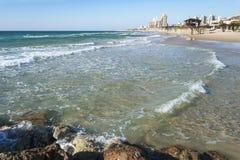 Carmel Beach a Haifa in Israele nordico fotografia stock libera da diritti
