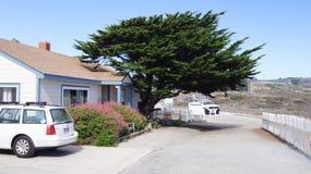 CARMEL KALIFORNIEN, FÖRENTA STATERNA - OKTOBER 6, 2014: härlig cypress, ett vitt hus och bil längs den berömda Stillahavskusten Arkivfoton