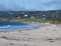 Carmel plaża w zimie Obrazy Royalty Free