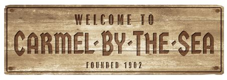 Carmel by the sea welcome sign wood plaque street vintage. California Monterey bay Clint Eastwood royalty free illustration
