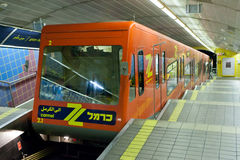 Carmelit地下火车在海法,以色列 图库摄影