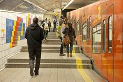 Carmelit地下火车在海法,以色列 免版税库存照片
