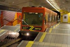 Carmelit metra pociąg w Haifa, Izrael Zdjęcie Stock