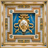 Carmelite Coat of Arms in the ceiling of San Martino ai Monti Church in Rome, Italy. royalty free stock images