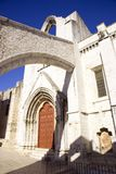 The Carmelite monastery Lisbon  Portugal the ruins of arches Museum. Ruins of the ancient Carmelite convent in Lisbon Portugal the middle ages Museum of Royalty Free Stock Photos