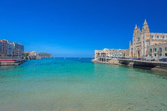 Carmelite Parish Church in Balluta Bay on Malta Stock Photography