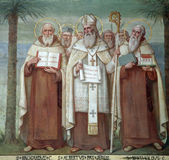 Carmelite Saints. Saint Brocardus, Albert of Jerusalem and Berthold, Saints, The Church Stella Maris, Haifa, Israel stock image
