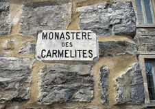 Carmelites monastic sign. The Carmel of Montreal is a unique monastic convent complex in Canada occupied by the Carmelites since its construction in 1896. It is Stock Photography