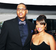 Carmelo Anthony and Lala Vazquez Anthony. NBA great and New York Knicks star Carmelo Anthony and wife Lala Vazquez Anthony arrive on the red carpet at Time Royalty Free Stock Photography