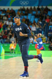 Carmelo Anthony of team United States warms up for group A basketball match between Team USA and Australia of the Rio 2016 Royalty Free Stock Image
