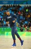 Carmelo Anthony van team Verenigde Staten warmt voor de gelijke van het groepsa basketbal tussen Team de V.S. en Australië van Ri royalty-vrije stock foto