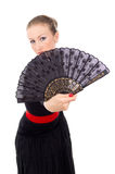 Carmen beautiful girl with a Fan Royalty Free Stock Photo