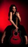 Carmen beautiful woman with guitar Royalty Free Stock Image
