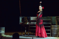 Carmen. DNIPRO, UKRAINE - JUNE 23, 2016: Members of the Dnepropetrovsk State Opera and Ballet Theatre perform CARMEN Stock Image