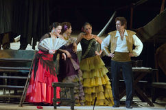 Carmen. DNIPRO, UKRAINE - JUNE 23, 2016: Members of the Dnepropetrovsk State Opera and Ballet Theatre perform CARMEN Stock Images