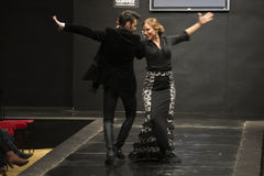 Carmen Rojo showcases collection at Pasarela Flamenca Jerez 2015 Stock Photos
