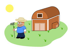 Farmer and His Barn Vector Clipart Stock Photography