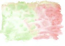 Carmesins vermelhos e fundo abstrato misturado verde da aquarela Ele ` s útil para cartões, Valentim, letras Fotos de Stock