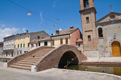 Carmine bridge. Comacchio. Emilia-Romagna. Italy. Royalty Free Stock Photo