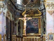 Carmine inre för kyrkaSant 'Agata nel i Bergamo royaltyfria foton