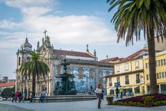Carmo and Carmelitas church with beautiful square on a sunny day in Porto Portugal. royalty free stock images