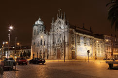 Carmo Church at night, Porto. Carmo Church (Igreja do Carmo) illuminated at night, Porto Portugal Stock Images