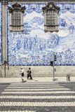 Carmo Church side wall Azulejo tile detail, in Porto. Royalty Free Stock Photo