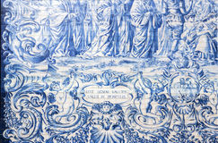 Carmo Church side wall Azulejo tile detail, in Porto. Stock Images
