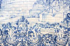 Carmo Church side wall Azulejo tile detail, in Porto. Royalty Free Stock Photography