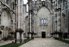 Carmo Convent in Lisbon. Ruins of Carmo Convent or Igreja do Carmo are the main trace of the great earthquake still visible in Lisbon, Portugal Royalty Free Stock Image