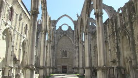Carmo Convent in Lisbon, Portugal. The ruins of the Carmo Convent in Lisbon, Portugal stock footage