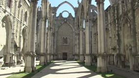 Carmo Convent in Lisbon, Portugal. The ruins of the Carmo Convent in Lisbon, Portugal stock video footage
