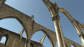 Carmo Convent in Lisbon, Portugal. The ruins of the Carmo Convent in Lisbon, Portugal stock video