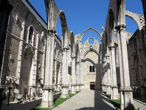 Carmo convent in lisbon. Ruins of the 14th-15th century Gothic church Igreja do Carmo in Lisbon, Portugal. Damaged by the earthquake in 1755 Stock Photos