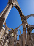Carmo Ruins in Lisbon. The Carmo convent ruins in Lisbon are a mandatory touristic visit. It has been roofless since the 1755 Great Lisbon Earthquake Royalty Free Stock Photos
