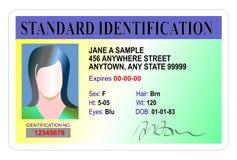 Carné de identidad estándar Fotos de archivo
