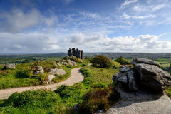 Carn Brea Castle. The castle on the top of Carn Brea overlooking Redruth in Cornwall Stock Images